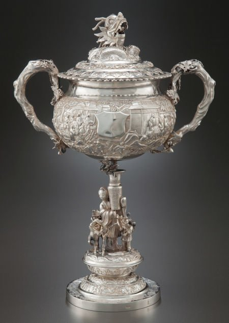 68001: A CHINESE EXPORT SILVER TWO-HANDLED COVERED FIGU