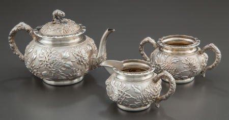 68003: A THREE-PIECE LUEN WO CHINESE EXPORT SILVER TEA