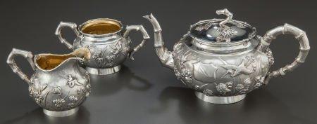 68006: A THREE-PIECE HENG LI CHINESE EXPORT SILVER TEA