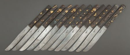 68012: A CASED SET OF JAPANESE MIXED METAL KNIVES Maker