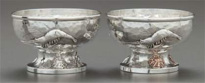 A PAIR OF TIFFANY & CO. JAPANESQUE HAND-HAMMERED