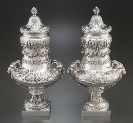68018: A PAIR OF HANAU SILVER COVERED URNS Maker uniden