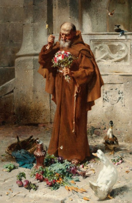 66004: JOHANN TILL (Austrian, 1827-1894) Monk with Duck