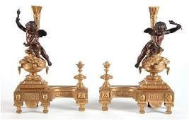 67003 A PAIR OF LOUIS XVISTYLE GILT AND PATINATED BRO