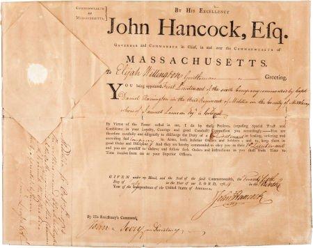 38001: John Hancock: A Boldly Signed 1784 Military Appo