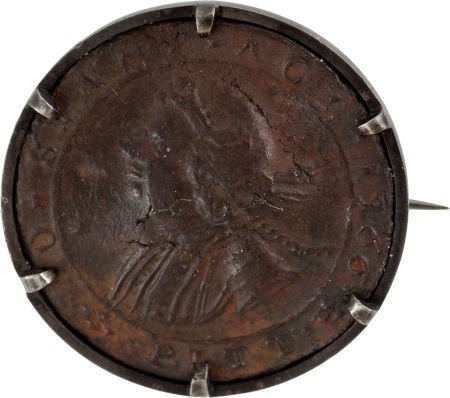 38002: William Pitt: 1766 No Stamp Act Button.