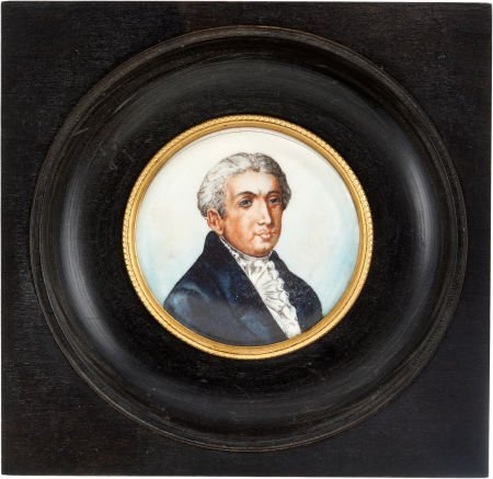38022: James Monroe: Miniature Portrait Wall Plaque.