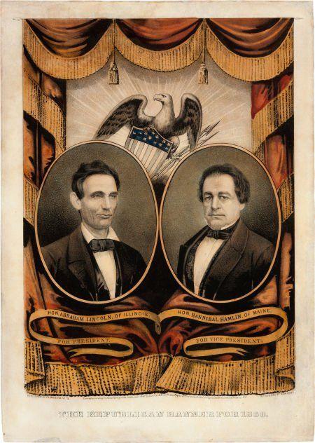 38060: Lincoln & Hamlin: Grand National Banner Print.