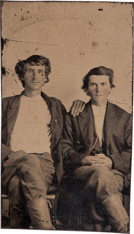 44011: Tintype Photo of Two Young Men.