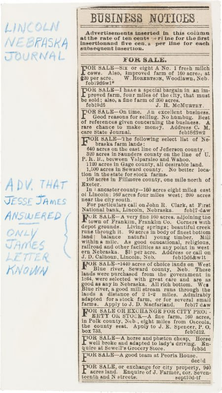 44018: Jesse James: A Newspaper Clipping with an Intere