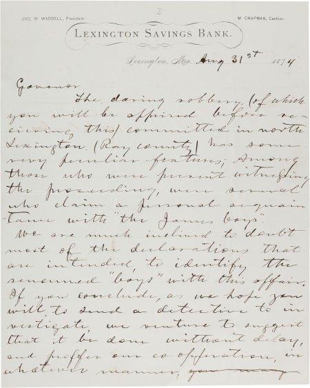 44019: [James-Younger Gang]. John Reid Autograph Letter