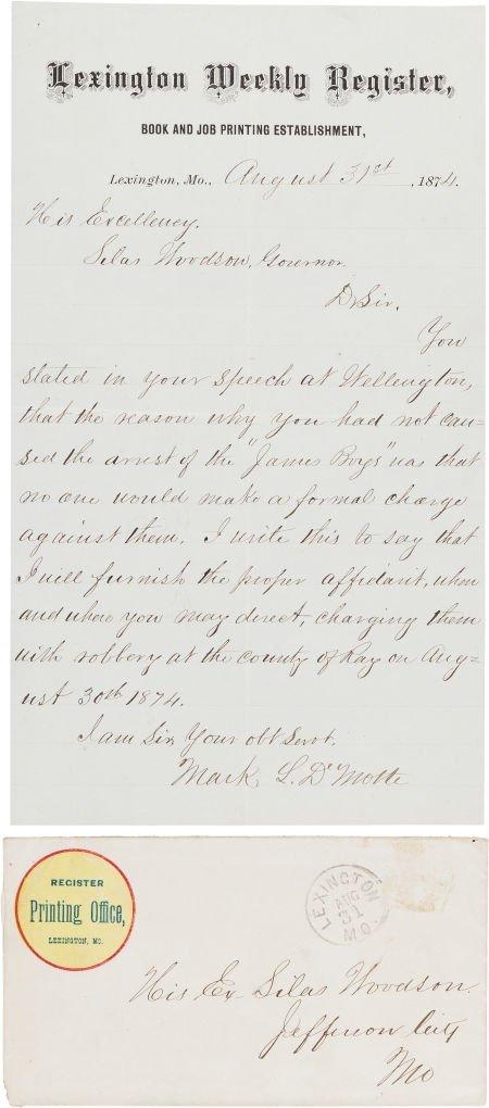 44020: [James-Younger Gang]. Mark L. De Motte Autograph
