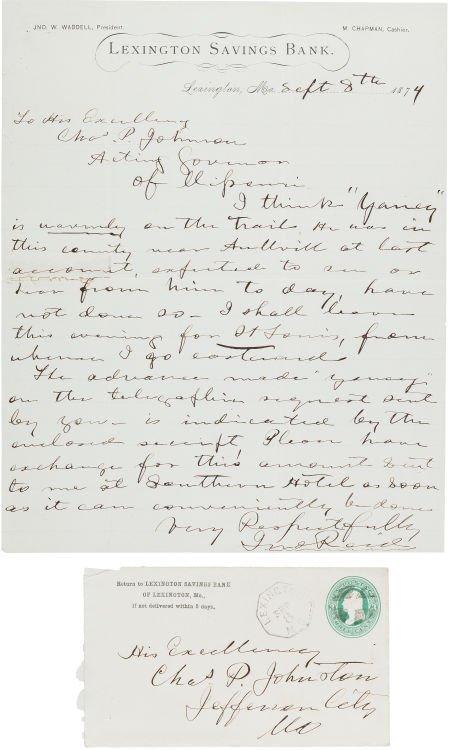 44024: [James-Younger Gang]. John Reid Autograph Letter