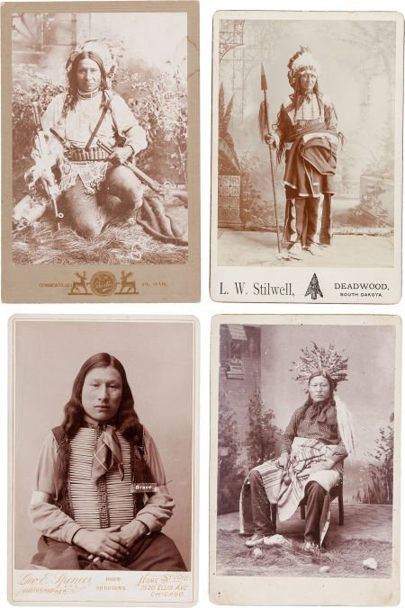 44270: Cabinet Cards: Four Photos of Finely Dressed, In
