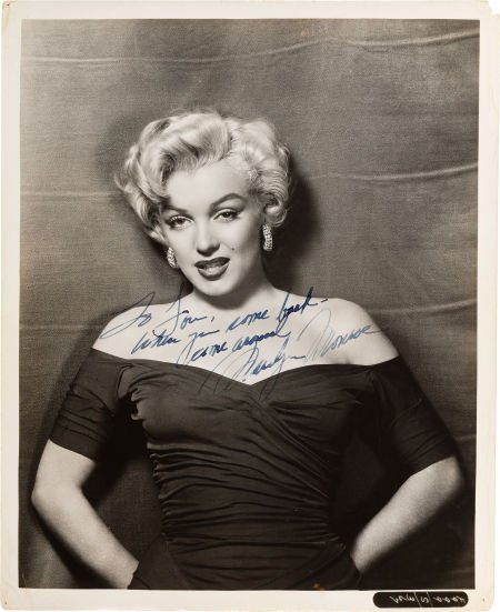46004: A Marilyn Monroe Signed Black and White Rare Pho
