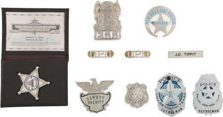 """46102: A Group of Prop Badges Including """"J.D. Tippit's"""""""