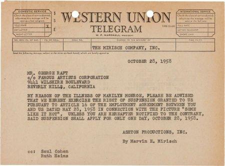 46018: A Marilyn Monroe-Referenced Telegram to George R