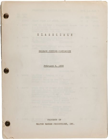 """46024: A Cutting Continuity Script from """"Stagecoach."""""""
