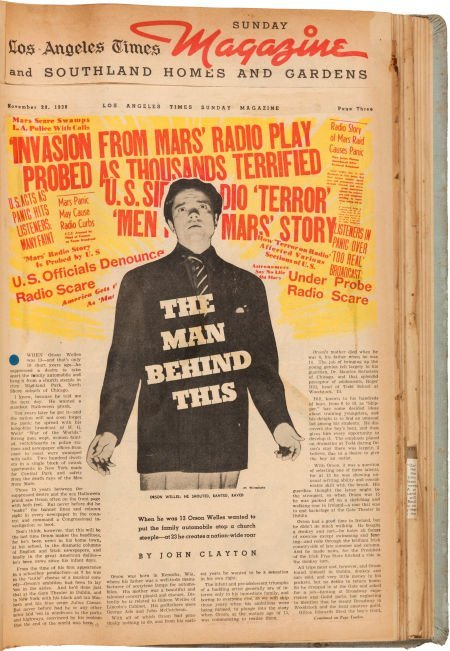 46071: An Orson Welles Personally-Owned Scrapbook Mostl