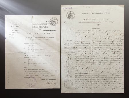 89005: RENOIR'S MARRIAGE LICENSE AND MINUTES OF THE MAR