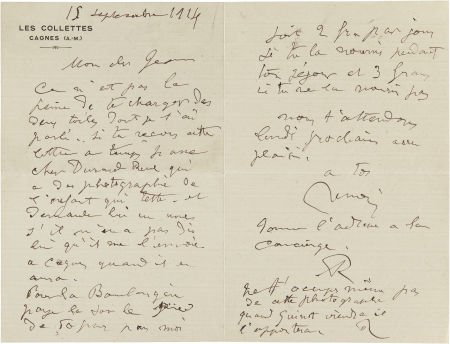 89058: A LETTER FROM RENOIR TO HIS SON, JEAN  THE RENOI