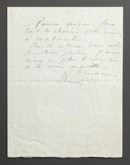 89023: A LETTER FROM RENOIR TO ALINE MOURNING THE DEATH