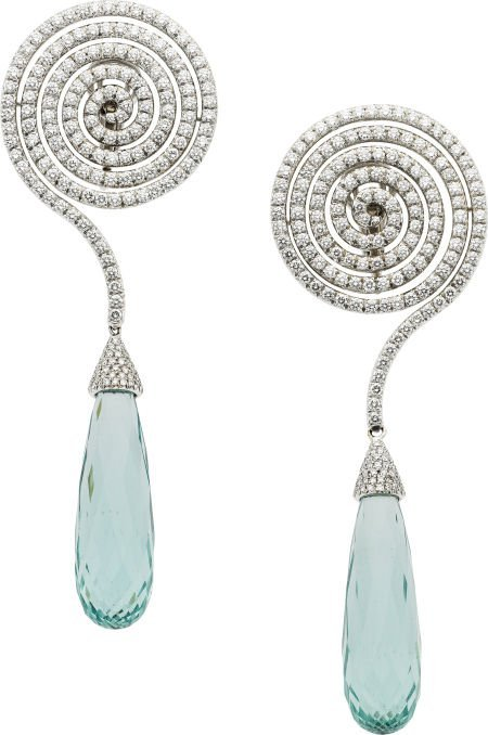 64001: Adler Diamond, Aquamarine, White Gold Earrings