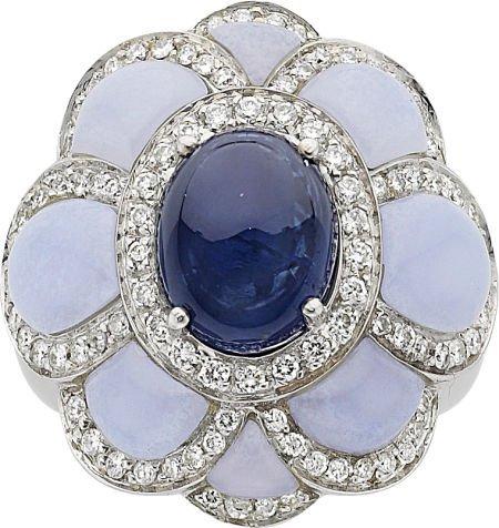 64006: Andreoli Sapphire, Diamond, Chalcedony, Gold Rin