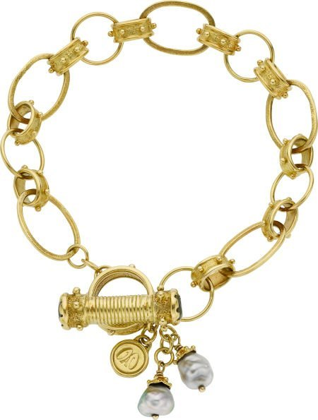 64011: Emily Armenta Tourmaline, Cultured Pearl, Gold B