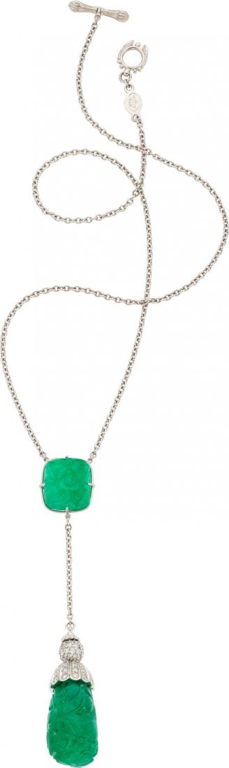 64018: Cynthia Bach Emerald, Diamond, Gold Necklace