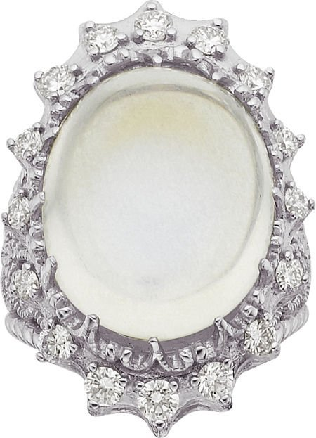 64021: Cynthia Bach Moonstone, Diamond, Gold Ring