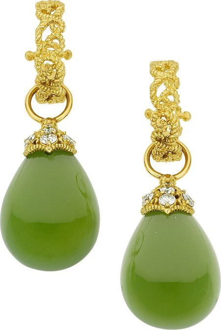 64024: Cynthia Bach Chrysoprase, Diamond, Gold Earrings