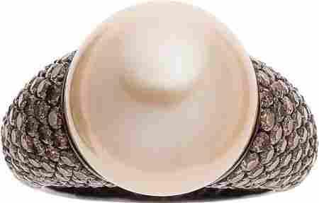 South Sea Cultured Pearl, Diamond, Gold Ring, Mi