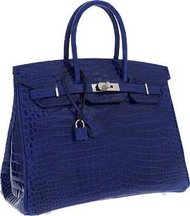 64400: Hermes 35cm Shiny Blue Electric Porosus Crocodil