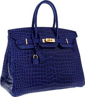 64401: Hermes Special Order Horseshoe 35cm Shiny Blue E