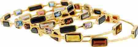 64358: Ippolita Multi-Stone, Gold Bracelets