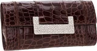 64268 Judith Leiber Shiny Elephant Gray Alligator Clut