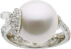 64482: Mikimoto South Sea Cultured Pearl, Diamond, Whit