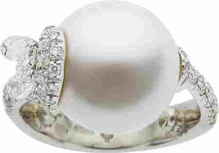 Mikimoto South Sea Cultured Pearl, Diamond, Whit
