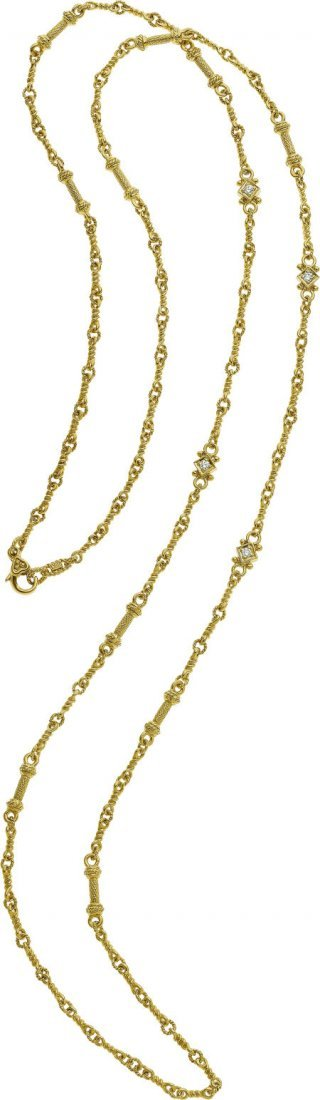64529: Judith Ripka Diamond, 18k Gold Necklace