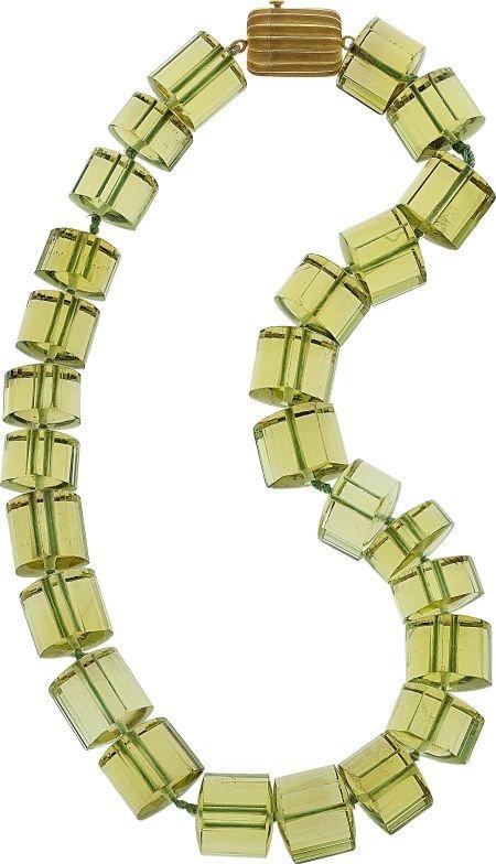 64704: Christopher Walling Prasiolite, 18k Gold Necklac