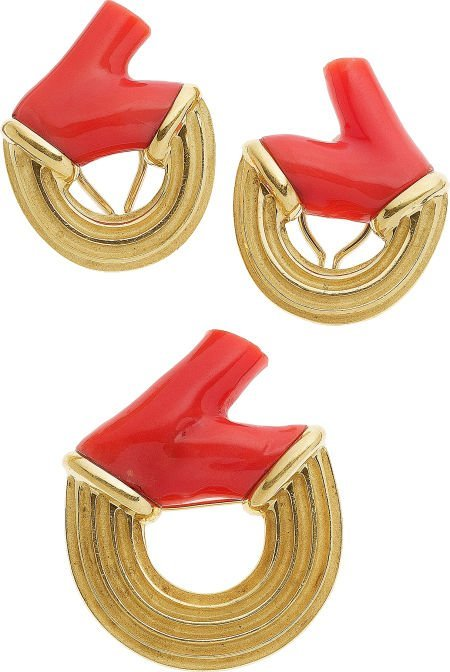 64705: Christopher Walling Coral, 18k Gold Jewelry Suit