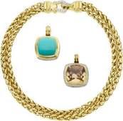 64719 David Yurman Turquoise Smoky Quartz Diamond G