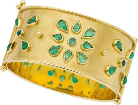 64645: Temple St. Clair Emerald, Gold Bracelet