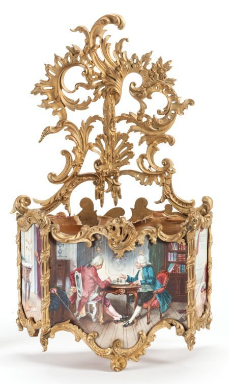 62015: A FRENCH PAINTED AND GILT BRONZE WALL POCKET 19t