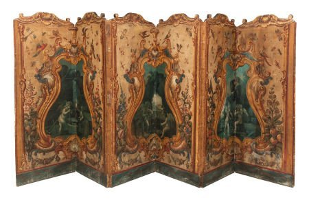 62016: A SIX-PART ITALIAN ROCOCO PAINTED LEATHER-COVERE