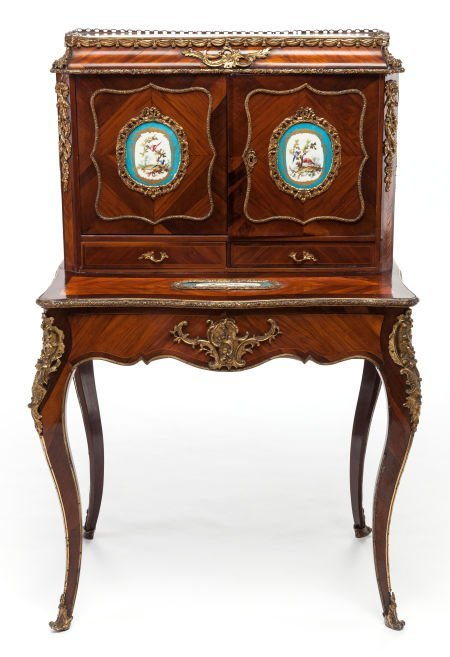 62019: A LOUIS XV-STYLE MAHOGANY, FRUITWOOD AND GILT BR