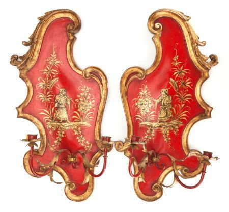 62020: A PAIR OF RED JAPANNED TWO-ARM WALL SCONCES Late