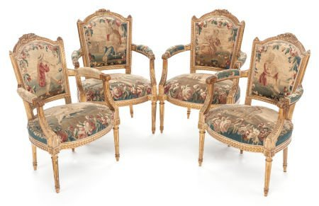 62023: A SET OF FOUR LOUIS XVI-STYLE CARVED GILT WOOD A
