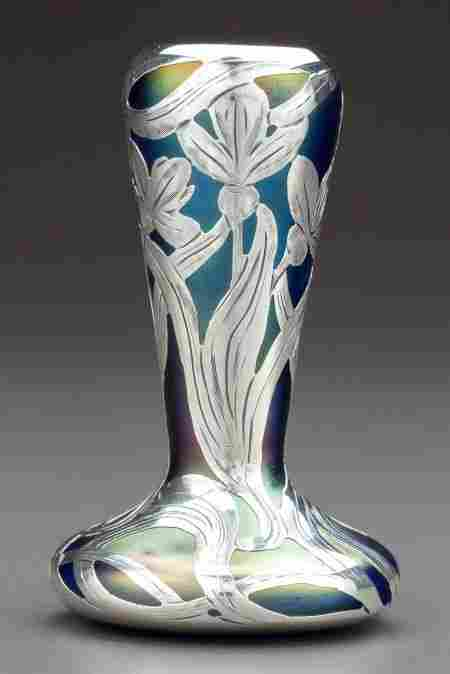 A LOETZ IRIDESCENT GLASS VASE WITH ALVIN SILVER